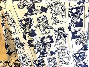 Marvel Comics Blue and White Full Flat Sheet 100% Polyester