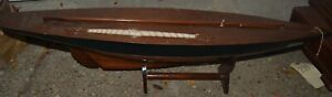 Vintage Wooden Sailboat Model- Needs repair