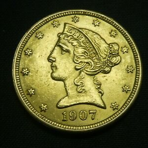 1907 $5 Gold Liberty Head US Coin