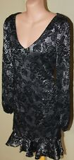 Womens Black and Metallic Lace Dress - Charlie Brown - Size 12