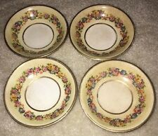 "4 Antique MERCER POTTERY COMPANY Trenton NJ 1865 Floral 5"" Bowls Gold Trim"