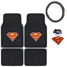 Superman Front Rear Carpet Car Truck Floor Mats Steering Wheel Cover & Key Chain