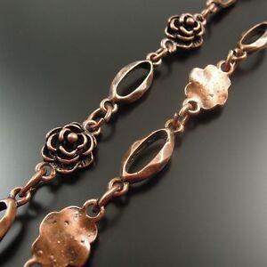 1M Retro Style Red Copper Color Flower Design Alloy Chain DIY Necklace Accessory