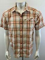 The North Face Men's Medium Orange Brown Plaid Short Sleeve Button Up Shirt