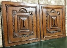 Pair shell bow drapery wood carving panel Antique french architectural salvage
