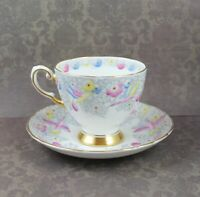 Vintage Tuscan English Bone China Pastel Blue, Pink & Yellow Floral Bird Tea Cup