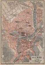 BILBAO antique town city ciudad plan. Spain España mapa. BAEDEKER 1913 old