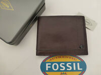 FOSSIL RFID Protected Tri-fold Wallet WALTON Coffee Leather Wallets in Tin RP£45