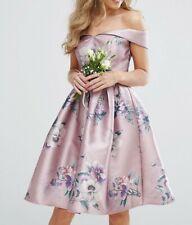Chi Chi London Off Shoulder Satin Midi Dress In Lilac Color Floral Print Size 2