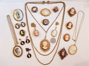 AMAZING Vintage Cameo Jewelry LOT Sarah Coventry Western Germany Jean Cardot+