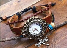 NEW Leather Hemp Hemp Quartz Watch Bracelet Wristband Vintage Charm Brown Tribal