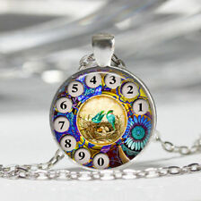 Phone Rotary Dial Theme Cabochon Pendant Necklace Jewelry Birthday Party Gift-L7