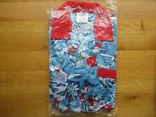 New   Boy Pyjamas with football theme blue red collar  size 5  - 5/6 year