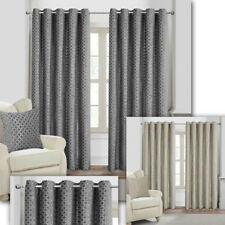 EYELET Anneau Top Retro Geometric CHENILLE Velvet Touch HEAVY LINED Curtains