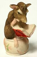 Initialed Vintage Lowell Davis Schmid BFA Private Time Reading Mouse Figurine