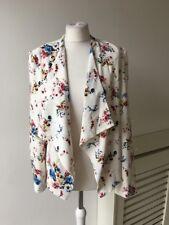 New Look Ivory Red Blue Multi Flower Print Open Front Jacket Blazer Sz 14
