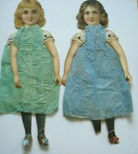 Antique Victorian Lot of 2 Jointed Paper Dolls Crepe Paper Dresses 1880
