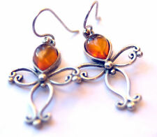 DROPLET EARRINGS-AMBER Cabouchons~.925