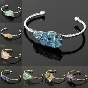 Women Natural Stone Bangle Wire Wrap Irregular Crystal Quartz Copper Bracelets