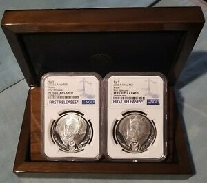 2020 South Africa BIG 5 RHINO (2) Coin Set NGC PF70 UC W/ OMP FIRST RELEASES