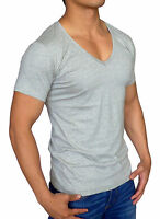 NEW MENS PLAIN GREY DEEP V NECK T SHIRT SLIM FIT CASUAL S - XXL FASHION MUSCLE