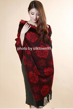 Cashmere Pashmina Shawl Wool Rabbit Fur Jacquard Peony Wrap 4ply Scarf Red Black
