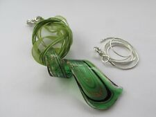 Stunning Lampwork Glass Large Silver Green Black Twist Pendant Chain Necklace