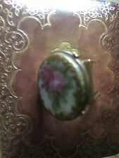 Porcelain Hand Painted Clip Pin Cartier 14K Solid Gold Very Rare