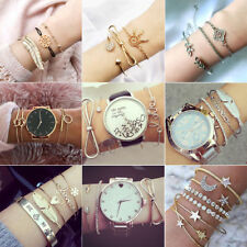 Fashion Women Bangle Bracelets Set Rhinestone Bohemian Beaded Chain Jewelry Gift