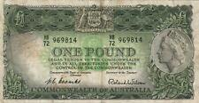 AUSTRALIA 1 POUND BANKNOTE COOMBS WILSON CIRC VERY CREASED MARKED NO TEARS/HOLES