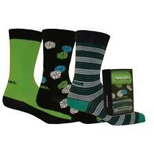 Diesel Men's 3-Pack Lucky Dice Socks Gift Pack, Green/Black