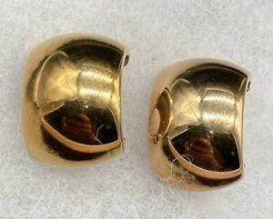 FZ 14K Yellow & Rose Gold Hoop Wide Huggie Omega Clip On Earrings 7.8 Grams