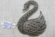 925 Sterling Silver Swan Shape Bird Brooch Marcasites and Red Treated Gemstone