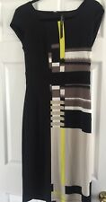 Marc New York Andrew Marc Black Yellow Beige Pencil Shift Dress. XS. Abstract