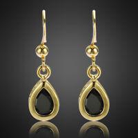 Modeschmuck Geschenk Zirkonia 18K Gold Vergoldet Schwarz Onyx Birne Ohrringe