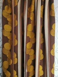 Vintage fabric curtains drapes (PAIR) orange brown Mid-Century Modern 60's 70s