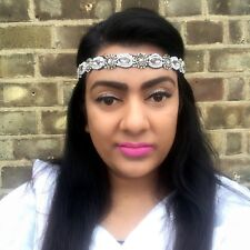 1920s Crystal Diamante Beaded Headband Wedding Great Gatsby Flapper Silver Party