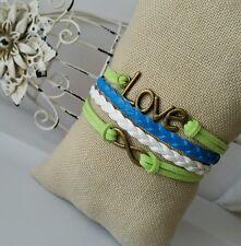 Fashion Leather Bracelet Blue Green Infinity Love Charm Jewelry Bronze USA