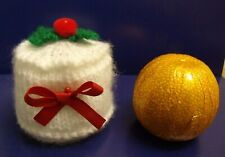 KNITTING PATTERN AND WOOL TO MAKE A CHRISTMAS CAKE CHOCOLATE ORANGE COVER