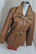 Faux Leather belted Jacket - Carmel color Kassandra Made in Mexico women's XL