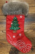 Custom Christmas (Tree)Stocking Bifano Furs Red Velvet Gray Fox (??)