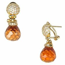 Graduated Marquise Globe Champagne CZs Gold Plated Dangle Drop Earrings