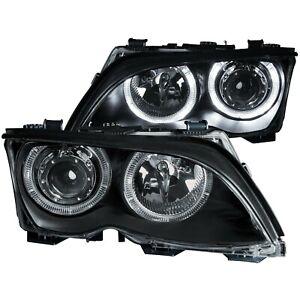 ANZO PROJECTOR HEADLIGHTS BLACK w/ HALO FOR 02-05 BMW 3 SERIES E46 4DOOR