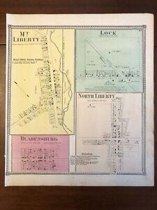 1871 Mt. Liberty, Lock, Bladensburg, Ohio Map Caldwell & Starr Atlas Knox County
