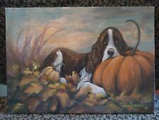 New ListingOriginAl Oil Painting~English Springer Spaniel~Dog~ Dog~Whimsical~Pumpkin~Fal l