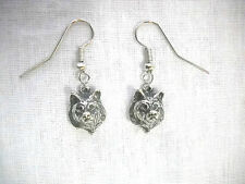 PEWTER RAISED WOLF HEAD LEADER OF THE PACK WILD ANIMAL DANGLING CHARM EARRINGS