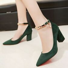 Mary Jane Womens Pointy Toe Ankle Strap Pumps Block Heel Court Party OL Shoes Sz