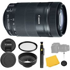 Canon EF-S 55-250mm f/4-5.6 IS STM Lens + UV Filter + Collapsible Rubber Lens...
