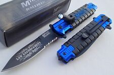 MTECH BLUE POLICE Spring Assisted Open LED Tactical Rescue Pocket Knife Switch