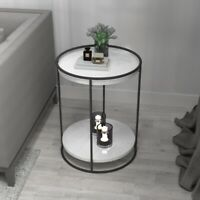 Modern 2 Tiers Marble/Wood Top Round Lounge Sofa Side Tables in Black/Gold Home